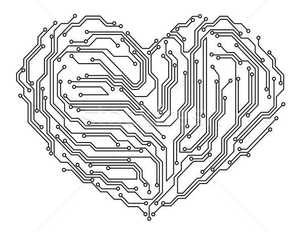 Computador coração digital placa-mãe elementos textura Foto stock © anbuch