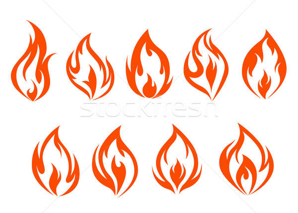 Fire flames set Stock photo © anbuch