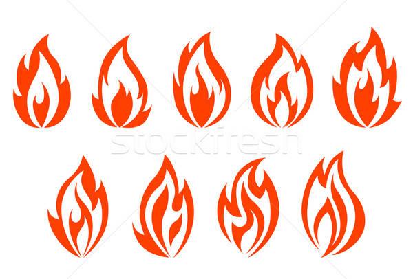 Fire flames symbols Stock photo © anbuch