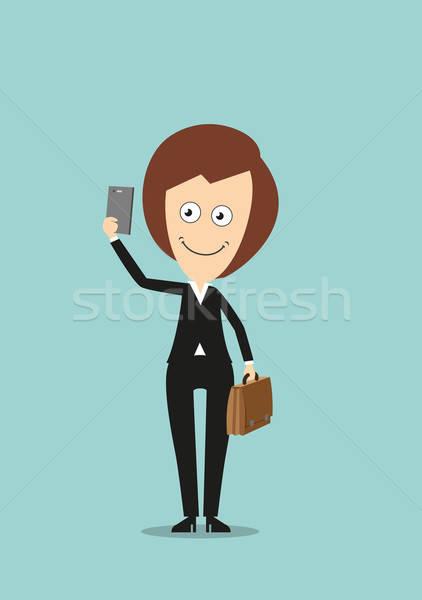 üzletasszony készít lövés okostelefon derűs mosolyog Stock fotó © anbuch