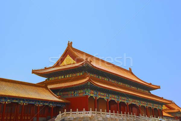 Oude tempel keizer verboden stad gebouw Blauw Stockfoto © anbuch