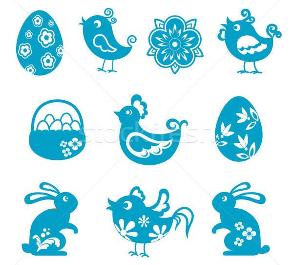 Pascua símbolos establecer vacaciones diseno flor Foto stock © anbuch