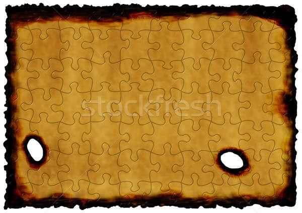 Oud papier puzzel brandwond ontwerp kleur patroon Stockfoto © anbuch