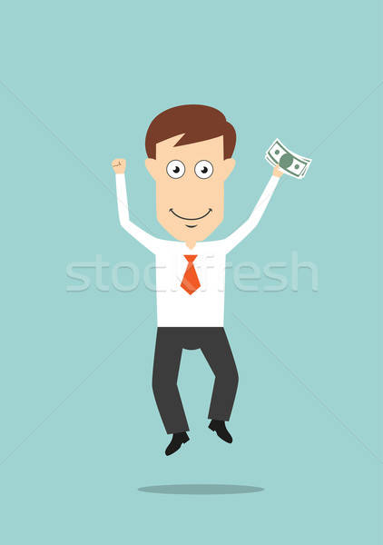 Businessman jumping with money in hand Stock photo © anbuch