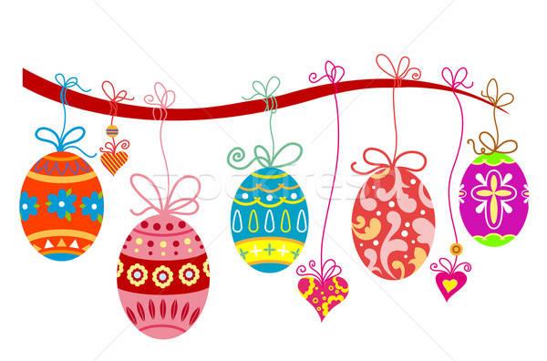 Húsvét ünnep húsvéti tojások fa terv tavasz Stock fotó © anbuch