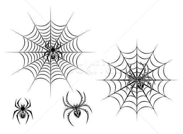Black danger spiders on web Stock photo © anbuch