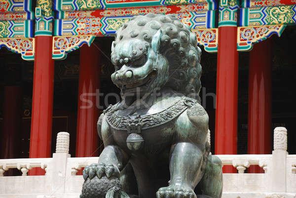 Bronz oroszlán tiltott város bejárat császár templom Stock fotó © anbuch