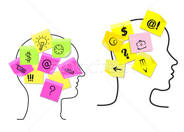 Multitasking man and woman with sticky memos Stock photo © anbuch