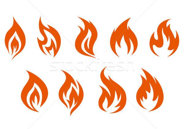Tűz szimbólumok izolált fehér terv háttér Stock fotó © anbuch