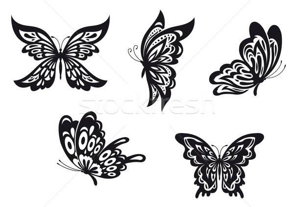 Mariposa tatuajes establecer negro resumen diseno Foto stock © anbuch