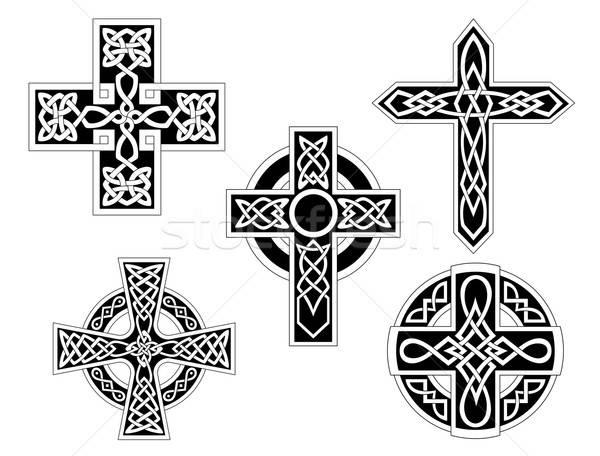 набор кельтской крестов ирландский знак черный Сток-фото © anbuch