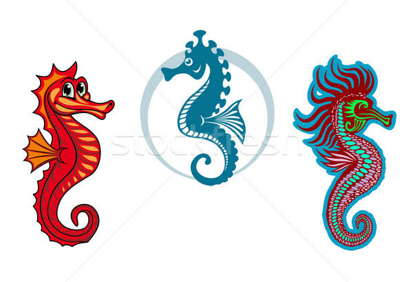 Funny underwater seahorse or hippocampus Stock photo © anbuch
