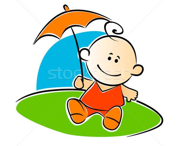 Pequeño bebé paraguas rojo juego Foto stock © anbuch