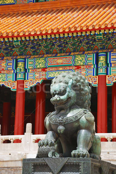 Bronze lion cité interdite entrée empereur temple Photo stock © anbuch