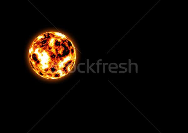 сжигание планеты изолированный черный огня аннотация Сток-фото © anbuch
