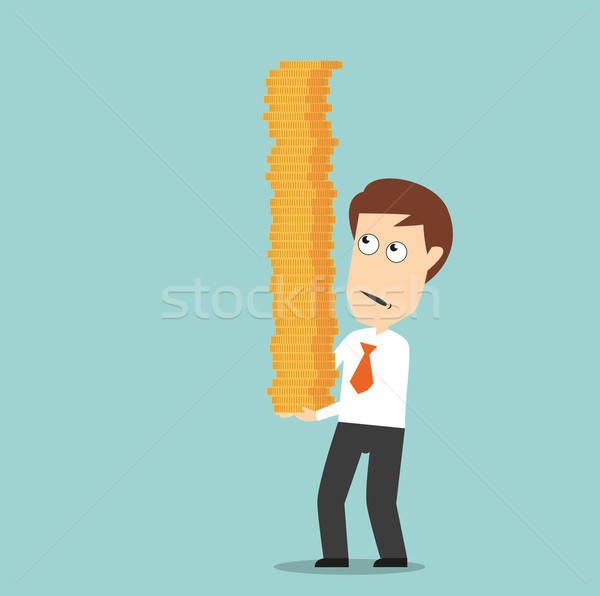 Businessman carefully carrying pile of coins Stock photo © anbuch