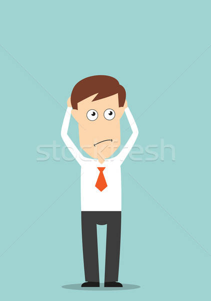 Pensativo empresário de mãos dadas cabeça mãos Foto stock © anbuch