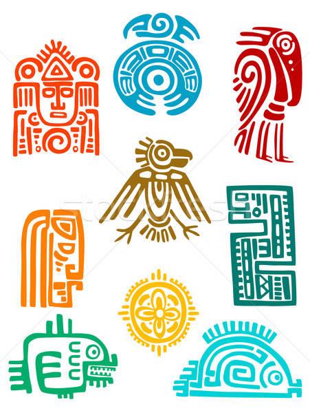 Ancient maya elements and symbols Stock photo © anbuch