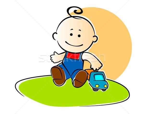 Jugando juguete camión cute hierba Foto stock © anbuch