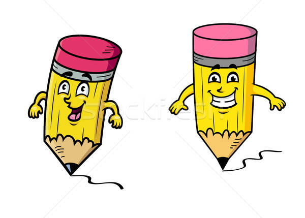 Feliz Cartoon lápices dibujo líneas colorido Foto stock © anbuch