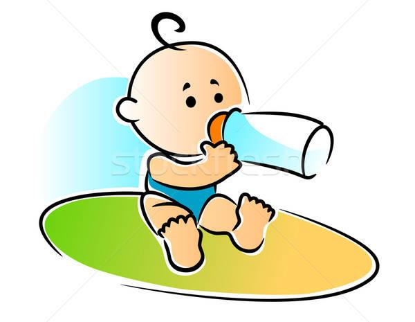 Imádnivaló újszülött baba iszik üveg fej Stock fotó © anbuch