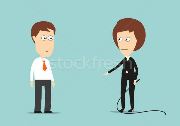 Female boss with whip training lazy employee Stock photo © anbuch