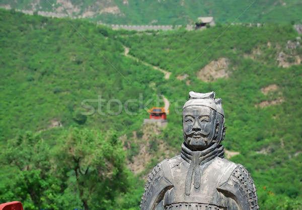 Vecchio pietra guerriero cinese great wall natura Foto d'archivio © anbuch