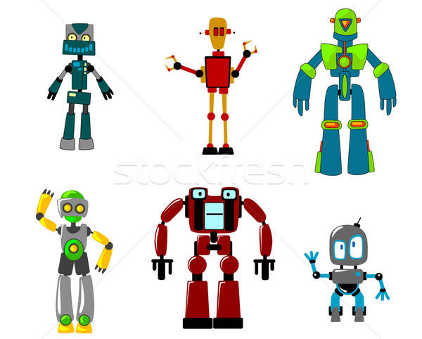 Six colorful cartoon robots, isolated on white Stock photo © anbuch