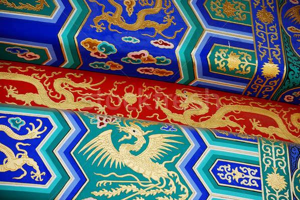 Elemek kínai tető színes templom terv Stock fotó © anbuch