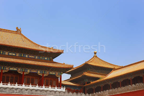 Antigo imperador cidade proibida edifício azul viajar Foto stock © anbuch