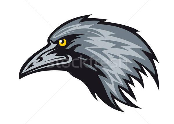 Corvo mascote cabeça preto pena silhueta Foto stock © anbuch