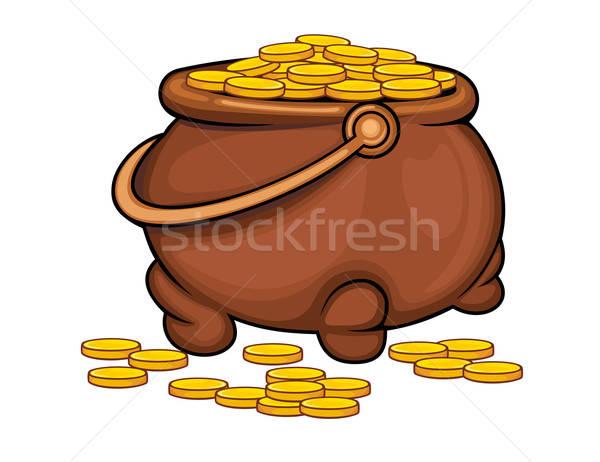 Pot monete d'oro felice finanziare successo bianco Foto d'archivio © anbuch