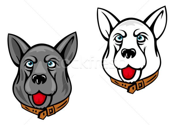 Cão mascotes isolado branco feliz assinar Foto stock © anbuch
