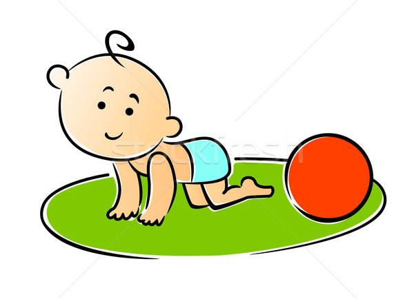 Kicsi baba kúszás kezek játszik piros Stock fotó © anbuch
