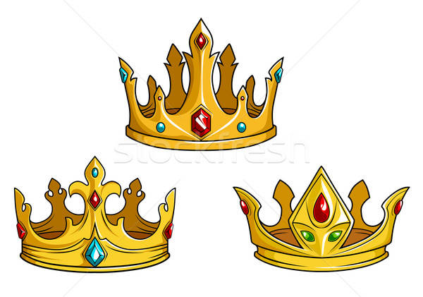 Royal golden crowns with jewelry Stock photo © anbuch