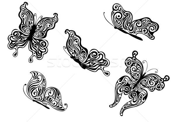 Ornate patterned calligraphic butterflies Stock photo © anbuch