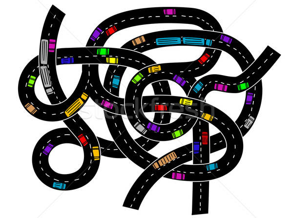 Verkeer auto stad ontwerp stedelijke Stockfoto © anbuch