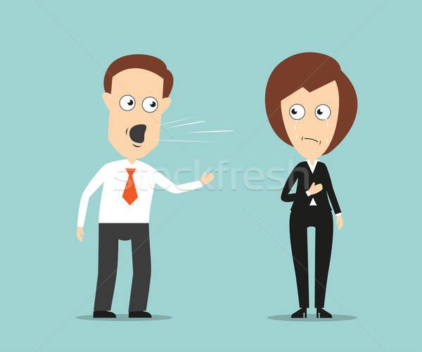 Zakenman huilen vrouwelijke collega agressief Stockfoto © anbuch