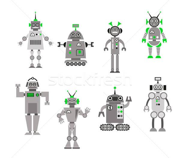 Set of abstract cartoon robots Stock photo © anbuch