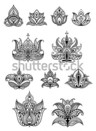 Soyut desen retro tarzı dizayn çiçek Stok fotoğraf © anbuch