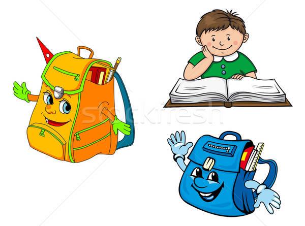 Renkli karikatür erkek kitap okul vektör Stok fotoğraf © anbuch