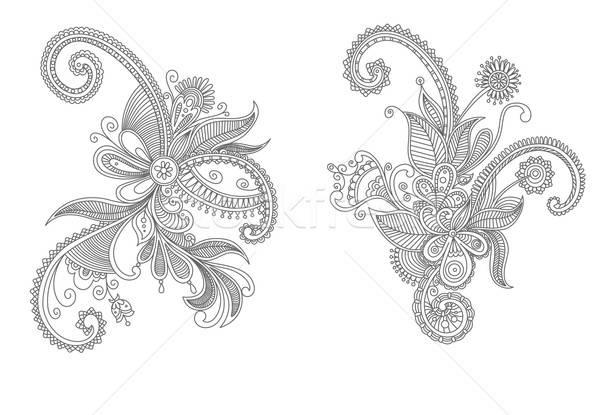 цветочный Элементы Vintage черно белые вектора цветок Сток-фото © anbuch