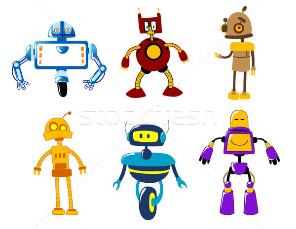 Cute colorful retro robot toys Stock photo © anbuch