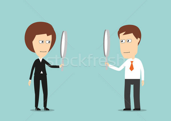 Colleagues observing each other through magnifiers Stock photo © anbuch