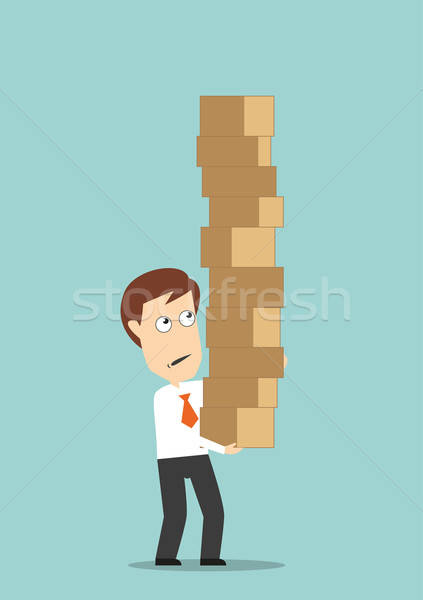 Businessman carrying a high stack of boxes Stock photo © anbuch