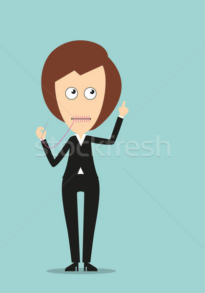 Mute business woman with attention gesture Stock photo © anbuch