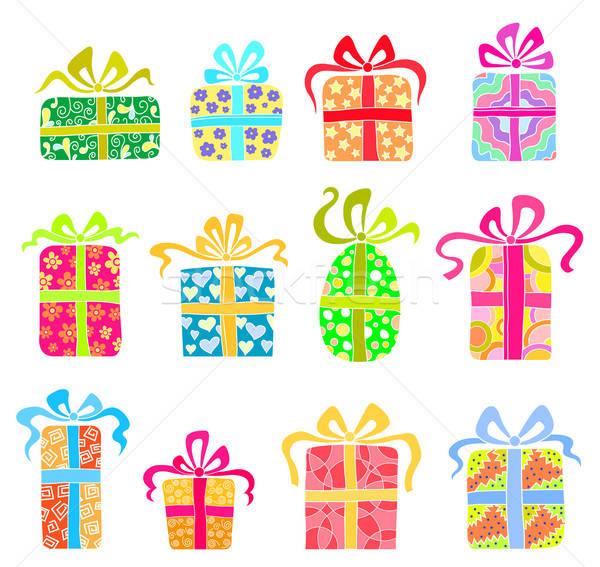 Ayarlamak tatil hediyeler güzel mutlu dizayn Stok fotoğraf © anbuch