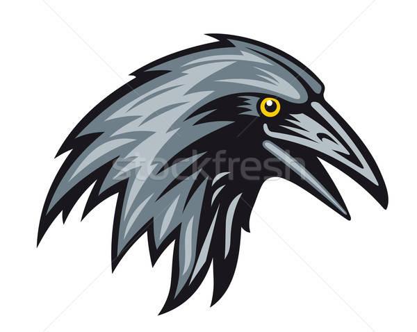 Zwarte raaf hoofd mascotte veer silhouet Stockfoto © anbuch