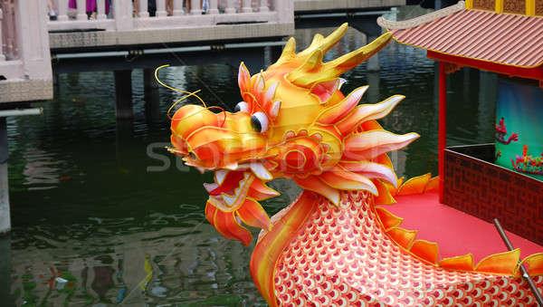 дракон лодка голову праздников озеро реке Сток-фото © anbuch