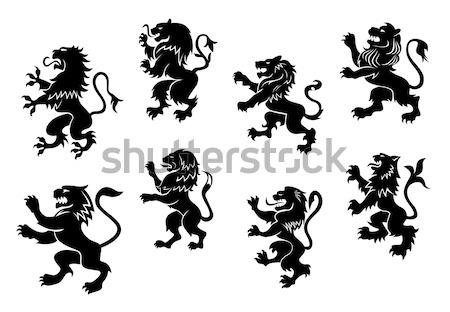 Koninklijk silhouetten ingesteld kunst zwarte hoofd Stockfoto © anbuch